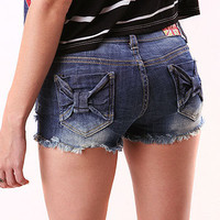 Bow Bridges Denim Shorts - Denim Shorts at Pinkice.com
