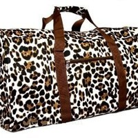 Brown Animal Print Duffle Carrying Bag 21&amp;quot; Large