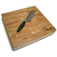 Personalized Cutting Board - End Grain Maple 14&quot;x14&quot;x2&quot; with Feet