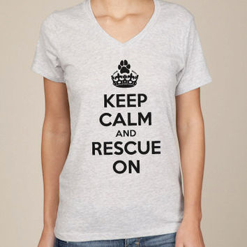 Keep Calm & Rescue On Unisex VNeck Tshirt by ShopRIC on Etsy