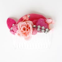 Pink Magpie Party hair comb // hot pinks, blush pinks, light pinks
