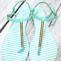 Country Club Mint & Gold Sandals