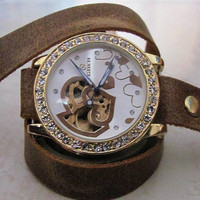 Luxury Crystal Golden Women's Automatic Skeleton Wrist Watch  FREE SHIPPING
