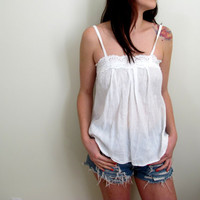 Vintage White Peasant Tank Top Blouse Lace See Through Flowers Floral Print Hippie