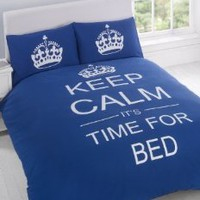 FULL NAVY BLUE TEENAGER KEEP CALM ITS TIME FOR BED COTTON REVERSIBLE COMFORTER COVER: Home & Kitchen