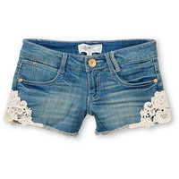 Jolt Tara Crochet Trim Indigo Denim Shorts