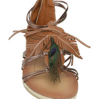Peacock Leaf Gladiator Sandal - Teen Clothing by Wet Seal
