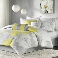 Madison Park Lola 7pcs Set - Grey/Yellow - Queen: Home & Kitchen