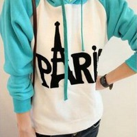 Blue Paris Tower Letter Sweater