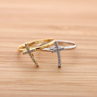 girlsluv.it - simple tiny CROSS with crystals ring, 3 colors