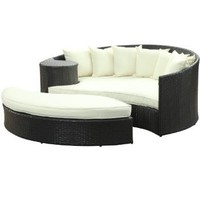 LexMod Taiji Outdoor Wicker Patio Daybed with Ottoman in Espresso with White Cushions: Patio, Lawn &amp; Garden
