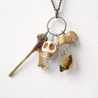 White Day of the Dead Skull Necklace with Real Bone by InkandRoses13