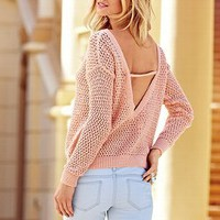 Marled Draped Open-back Sweater - Victoria&#x27;s Secret
