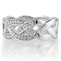 Sterling Silver Cubic Zirconia CZ Accent Woven Design Band Ring - Women's Engagement Wedding Band Ring