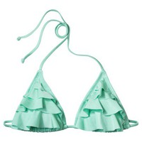 Xhilaration® Junior's Triangle Swim Top w/ Ruffles -Mint