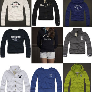HOLLISTER BY ABERCROMBIE WOMENS HOODIE ALL SIZES BUTTON UP JUMPER ...