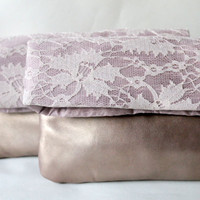 Bridesmaids clutches, bridal clutches, foldover clutches, lace clutch, set of two