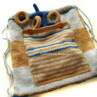 Tic Tac Toe Game Children Bag Knitted in Blue and Beige - NOTON by Raquel, Etsy