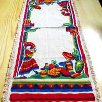 Vintage Mexican Theme Table Runner Cotton 1970