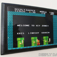 Family Names on a Super Mario Brothers Three Hook Key Holder - Custom Key Hook