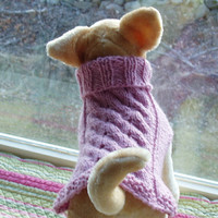 Dog Sweater Hand Knit Cable Weave Petal Pink Merino Wool by jenya2
