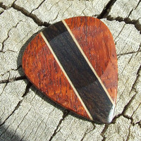 Handmade Premium Wood Guitar Pick - Afzelia Xylay - Yucatan Ziricote and Cherry Wood