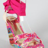 Bamboo Booster-07 Printed Criss Cross Open Toe Wedge