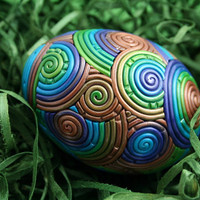 Peacock Egg in Jewel Tone Polymer Clay Filigree by StarlessClay