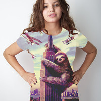 Sloth, Empire State Building, Slothzilla, Women&#x27;s Tee, Sloth shirt, Available S M L XL 2XL