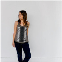Palindromes Tank - geometric print on heather brown - womens racer back tank top - reflected triangles and dots - S/M/L