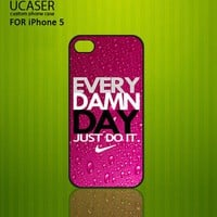 Nike Every Damn Day purple - Photo On Hard Cover Case For iPhone 5