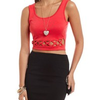 Ponte-Knit Lattice Crop Top: Charlotte Russe