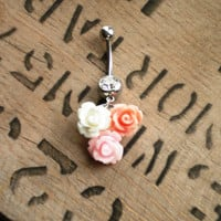 Three Flower Pink Rose Belly Button Ring