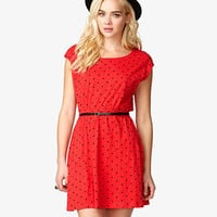 Polka Dot Dress w/ Skinny Belt | FOREVER 21 - 2038237367