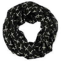 D&amp;Y Black Cross Print Infinity Scarf