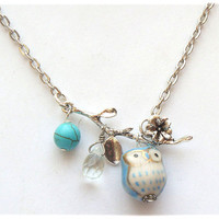 Silver Leaf  Turquoise Quartz  Porcelain Owl necklace by gemandmetal