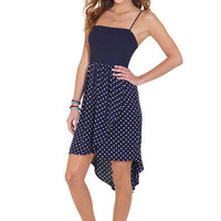 Navy Polka Dot Hi-Lo Dress