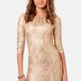 TFNC Basma Gold Sequin Dress