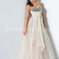 Free shipping:Chic A-line Sweetheart Floor Length Tulle Graduation Dress -sinospecial.com