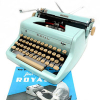 Fully Serviced 1950s Baby Blue Royal Typewriter w/ by joevintage