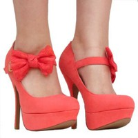 Amazon.com: Women's Qupid Coral Mary Jane Bow High Heel Stiletto Pump (Onyx74): Shoes