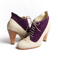 1920&#x27;s vintage inspired two tones high heels FREE WORLDWIDE SHIPPING