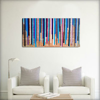 Original- Large Abstract Painting On Wood - Blue, Purple, Black, White.