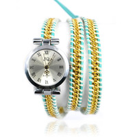 Golden Chain and Blue Leather Wrap Watch