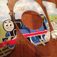 Hand Painted Thomas the Train Letters by CuteNCustom on Etsy