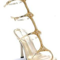 Gold Strappy Sandals Rhinestones Heels Bridesmaid Pageant Prom Shoes 9 10 11