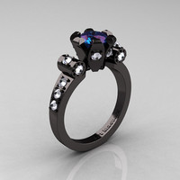 Modern Antique 14K Black Gold 1.0 Carat Russian Alexandrite Flip Accent White Sapphire Bridal Solitaire Ring R227-14KBGWSAL