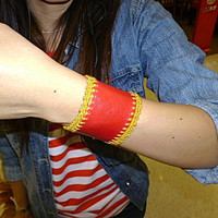 leather and crochet  wrist band bangle red