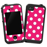 "White Polka Dot on Raspberry ""Protective Decal Skin"" for LifeProof 4/4S Case"