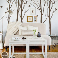 "Winter Trees Decal - Tree Wall Decal Wall Sticker - Tree Decals - Large: approx 93"" x 108"" - KC005"